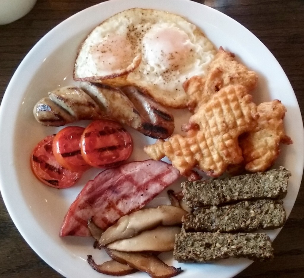 full Welsh breakfast with laverbread Snowdonia NYC
