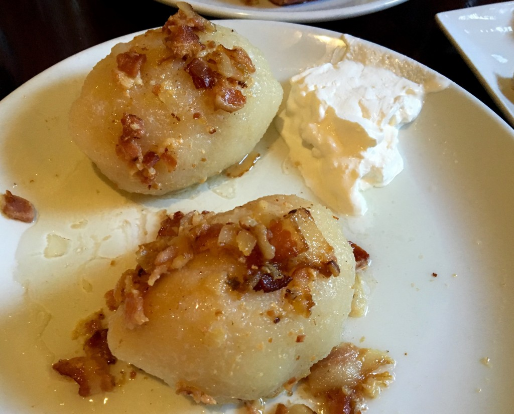 outside of a dumpling, bacon is a man's best friend, inside of a dumpling... well, how about some sausage?